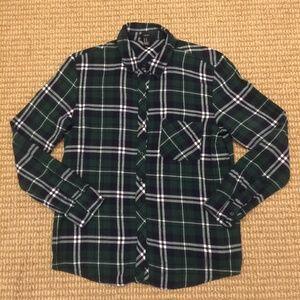 Forever 21 Blue & Green Flannel Shirt Medium
